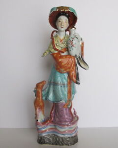 Antique Chinese Famille Rose Lady Goddess Magu Statue Figurine 14 75 Tall