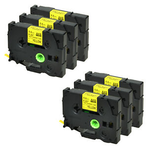 6 Pk For Brother Hse611 Black On Yellow Heat Shrink Tube Tape 5 8mm X1 5m Pte500