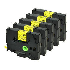 5 Pk For Brother Hse611 Black On Yellow Heat Shrink Tube Tape 5 8mm Pte500 1 5m