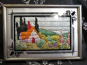 Sm Antique Arts Crafts Cottage Picture Framed Embroidery Silk Yarn Needlework