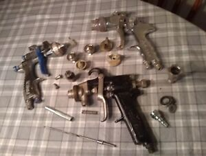 Lot Of 3 Untested Paint Spray Guns 2 Gravity Fed Finex Binks Pro tek 6 Tips