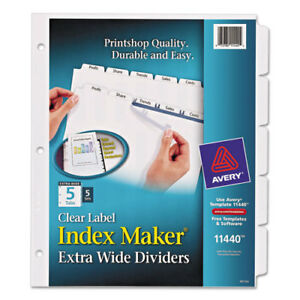 Index Maker Extra wide Tab Dividers 5 tab 5 st 9 x11 cl Ave11440