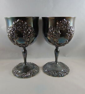 Reed And Barton King Francis 1662 Silver Plate 5 1 4 Wine Goblets Pair 2