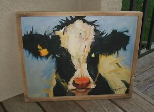 Cow Black Blue Wall Picture Wood Frame Primitive French Country Farmhouse Decor