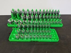 Snap On Green 3 Row Sae Socket Holder Trays 1 4 3 8 Shallow Semi Mid Deep 2pc