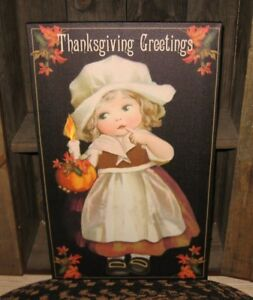 Lighted Canvas Thanksgiving Pilgrim Girl Sign Picture Primitive Farmhouse Decor