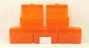 BERRY'S PLASTIC AMMO BOXES (5) ORANGE 50 Round 270  30-06  More- FREE SHIPPING