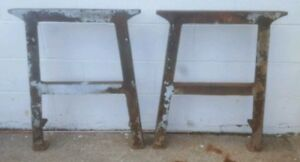 Vintage Set Of Industrial Cast Iron Table Workbench Legs Base Machine Age