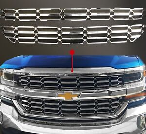 2016 2019 Chevy Silverado 1500 Grill Overlay Cover Inserts Chrome Grille Snap On