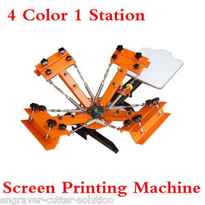 Adjusted 4 Color 1 Station Silk Screen Printing Machine Diy T shirt Press Print
