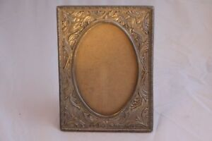 Vintage Antique Pewter Picture Frame Ornate 7 X 5 1 4 Heavy Metal Oval Picture