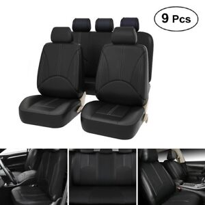 9 Part Pu Leather Car Seat Cover Full Set Front rear Backrest Protector Cushion