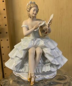 New Vintage Wallendorf Seated Ballerina With Mirror Figurine 1396 02 Germany