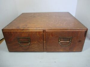 Vtg Tiger Oak Wood Wooden 2 Large Drawer Desk Top Filing Cabinet 19 X 16 X 7
