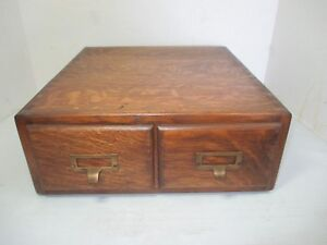 Vtg Tiger Oak Wood Wooden 2 Drawer Desk Top Filing Cabinet 13 X 14 X 5