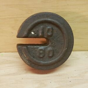 Antique Balance Cast Iron Scale 10 80 Weight Vintage Stacking Counter Weight