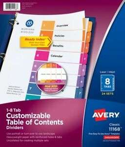 Avery Ready Index Table Of Contents Dividers Uncollated 1 8 Tab Dividers 24 Sets