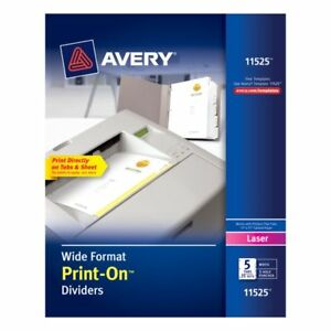 Avery Letter Size 3 hole 5 tab Wide format Print on Dividers 25 Sets