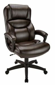 Realspace Fennington High back Bonded Leather Chair Brown black