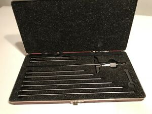 Starrett 440m 440z 9l Depth Micrometer Complete Set In Case Professionally Owned