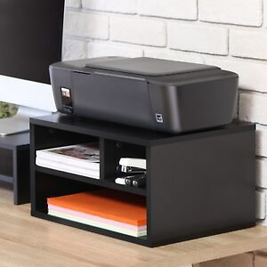 Fitueyes Black Wood Printer Stand With Storage office Workspace Desk Organizers