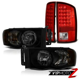 2003 2005 Dodge Ram 2500 4 7l Dark Tinted Headlights Red Clear Taillights Led