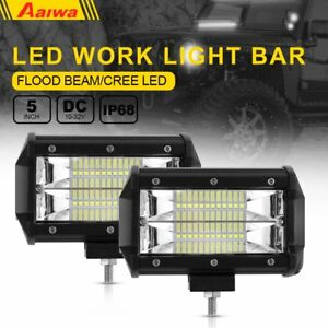 Pair 5inch 72w Led Work Flood Light Bar Driving Car Truck Suv Offroad Fog Lamp
