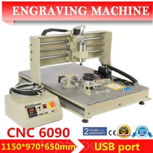 Usb 4 Axis 6090 Cnc Router Milling Engraver 1500w Vfd Spindle Motor Cut Machine