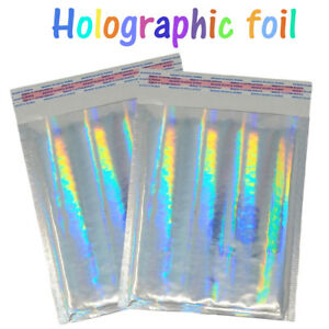 8 5x12 Holographic Metallic Bubble Mailers Color Padded Shipping Envelopes