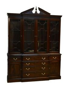 Stickley 2pc Mahogany Chippendale Breakfront China Cabinet