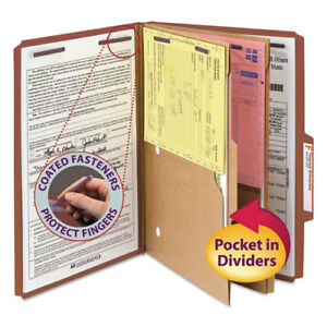 Pressboard Folders With Two Pocket Dividers Legal Six section Red 10 box
