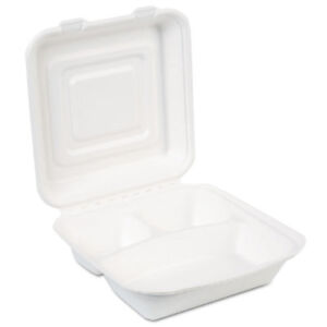Ecosmart Molded Fiber Food Containers 3 comp 9 1 32 X 2 5 32 White 250 ct