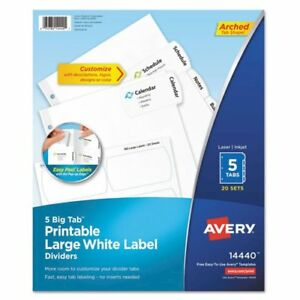Big Tab Printable Large White Label Tab Dividers 5 tab Letter 20 Per Pack