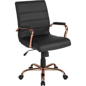 Mid back Black Leather Executive Swivel Chair With Rose Gold Frame And Arms