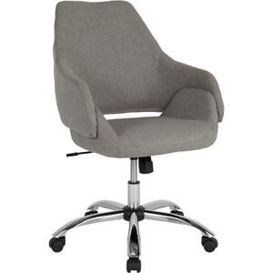 Madrid Home And Office Upholstered Mid back Chair In Light Gray Fabric