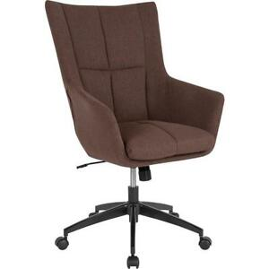 Barcelona Home And Office Upholstered High Back Chair In Brown Fabric