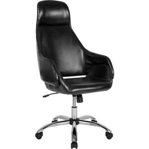Marbella Home And Office Upholstered High Back Chair In Black Leather