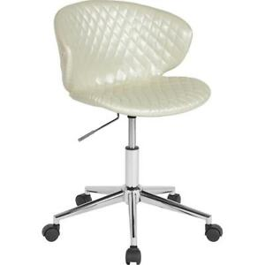 Cambridge Home And Office Upholstered Mid back Chair In Ivory Vinyl