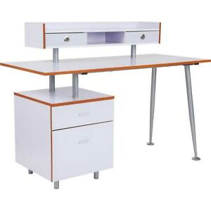 Piedmont Home And Office Desk With 2 Drawers And Top Storage Shelf In White