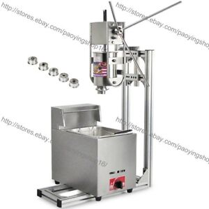 Heavy Duty 3l Vertical Manual Spanish Churro Machine Maker W 6l Gas Fryer