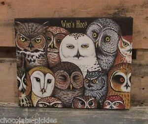 Canvas Owl Picture Primitive French Country Farmhouse Decor Cabin Barn Bird