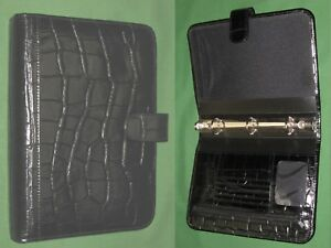 Classic 1 0 Black Reptile Syn Leather Day Runner Planner Binder Franklin Covey