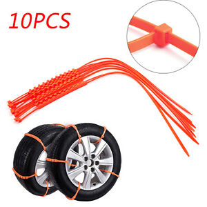 10pcs Snow Tire Chain Anti Skid Belt Car Truck Suv Emergency Winter Driving Usa