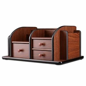 Flexzion Wooden Desk Organizer W drawers Classic Wood Office Supplies Desktop