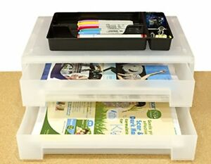 2 tier Large Office Desk Organizer Document Tray Storage Box Drawer For Pp