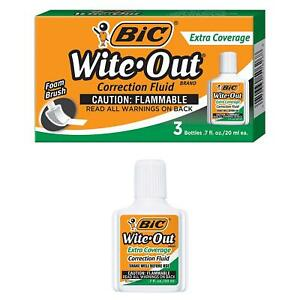Bic Wite out Brand Extra Coverage Correction Fluid 20 Ml White 3 count