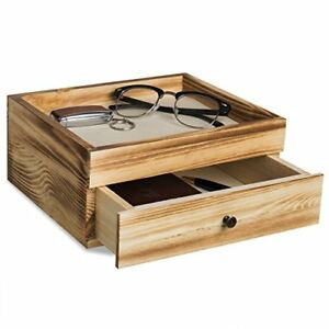 Rustic Brown Wood Desktop Organizer With Pullout Drawer Tabletop Accessories