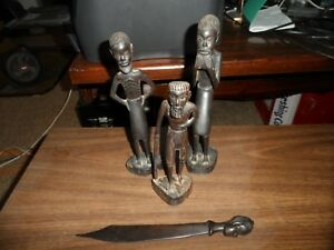Collection Stunning Vintage Antique Tribal Ebony Wood Carvings
