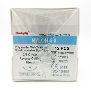 2 Boxes Sutures Nylon 4 0 polyamide 75cm Needle 1 2 Circle Reverse Cutting 16mm