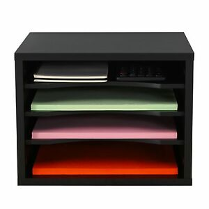 Fitueyes Wood Multi function Desktop File Organizer Office Supply Storage Black